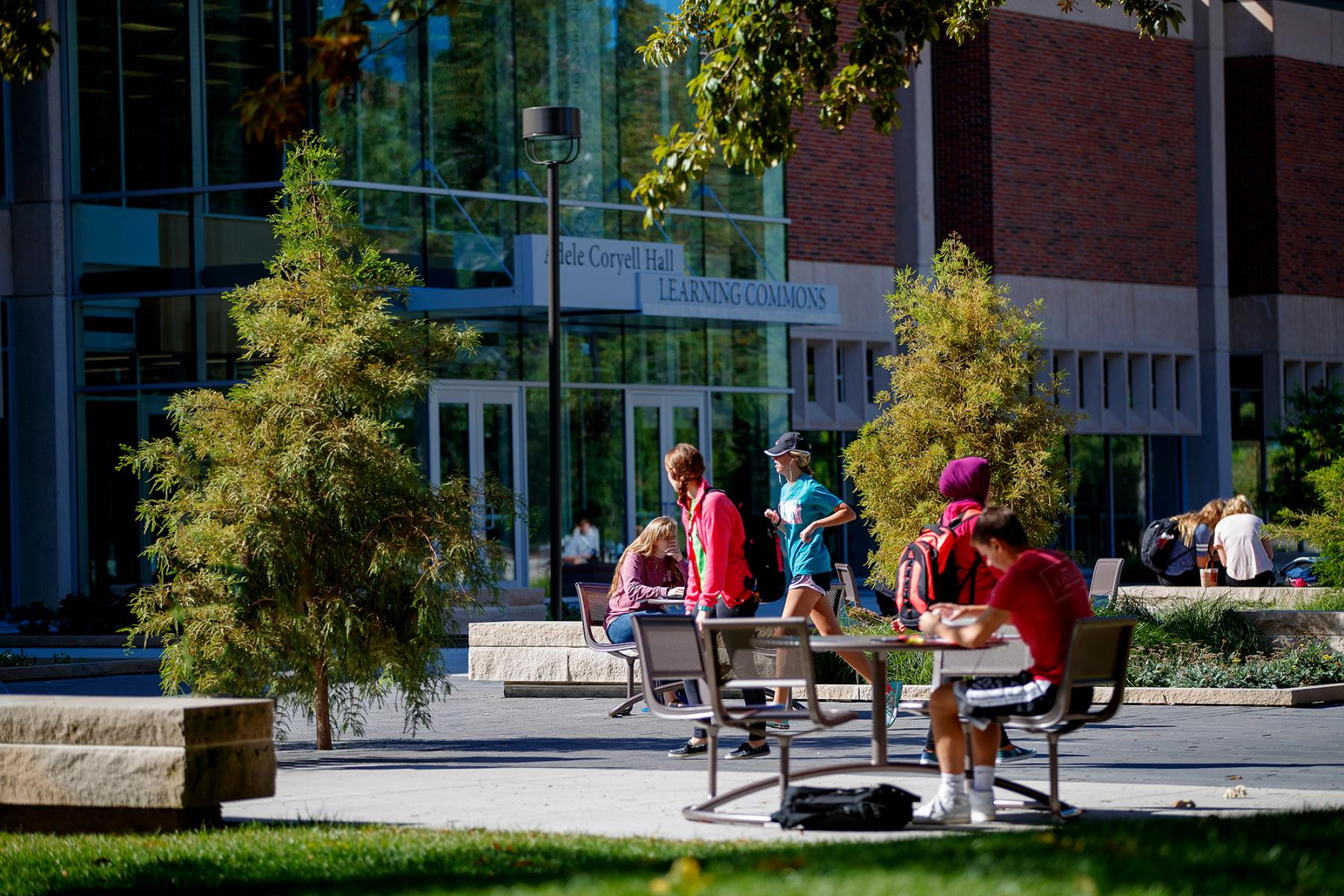 photo of students studying outdoors and     walking to classes in front of the Learning Commons