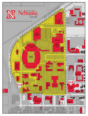 Map of the UNL city campus showing the halo boundary bordered by 10th to 14th streets and R St to Salt Creek Roadway